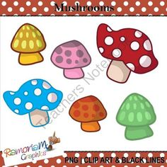 FREE Mushroom Clipart from RamonaM Graphics on TeachersNotebook.com -  (15 pages)  - Free mushroom Clipart. 15 PNG images, each is 300dpi in Black & White, colored with colored outlines and colored with black outlines