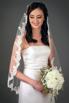 Anna   Classic re-embridered lace trimmed wedding veil on Etsy, £157.72