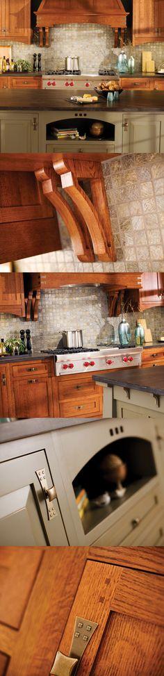 Craftsman Kitchen Design in Dura Supreme Cabinetry. LOVE THOSE HANDLES!
