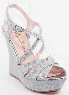 Cross T-strap Sparkle Dress Wedges Shoes, ( www.fashionaras.c