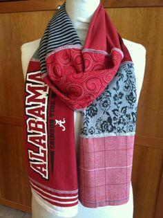 UPCYCLED tshirt scarf ALABAMA Crimson Tide red by verbositytees, $22.00