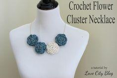 Love City: crochet love {flower cluster necklace}