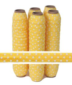 Yellow with White Polka Dots Fold Over Elastic, $4.50