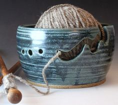 Ceramic Knitting Bowl Yarn Bowl Demin Blue Knitting Bowl Custom Order