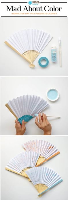 Get creative and beat the heat with this speckled fan painted with our favorite colors from #marthastewart crafts. #madaboutcolor