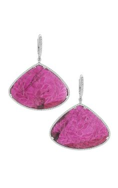 Carved Tourmaline, Gold And Diamond Earrings by Dana Rebecca