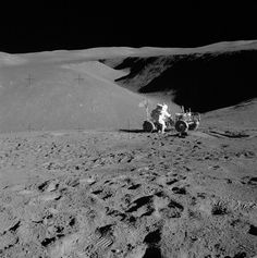 """Hadley Rille, at the end of July 1971. Apollo 15 was the first to use a battery-powered Moon car, called the Lunar Roving Vehicle (LRV). The astronauts could explore more widely, including going to the edge of the rille. (Photo: LRO, NASA) Ian Ridpath, """"Exploring the Apollo Landing Sites"""", http://www.bellaonline.com/articles"""