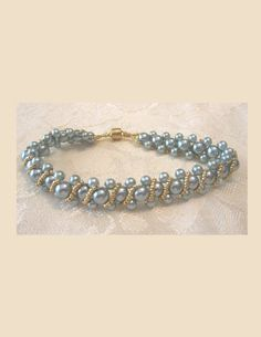 Aqua Pearl Delight Right Angle Weave Bracelet by 3DBeadedOrnaments, $19.99