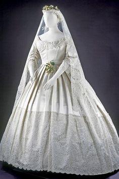 Wedding dress - silk satin  c. 1865