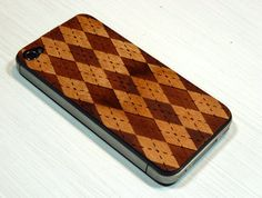 Argyle Etching on Real Wood iPhone Skin Sticker