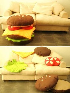 hamburger scatter cushions, game rooms, burger, kid playroom, family rooms, boy rooms, kid rooms, throw pillows, kids play rooms