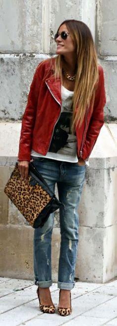 boyfriend denim + red leather + leopard.