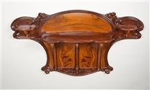 "Eugéne Gaillard - Hanging Display Shelf. Fruitwood and Marquetry Inlay. Circa 1901. 28"" x 50"" x 8"" (71cm x 127cm x 20.2cm)."