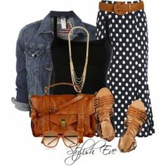 Denim jacket black blouse long skirt hand leather hand bag with sandals