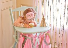 Smash cake fun at this pink and gold party! #smashcake