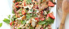 Strawberry and feta balsamic chicken salad