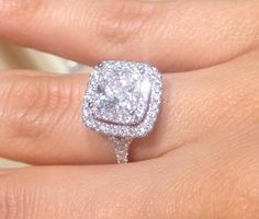 cushion cut double halo ring absolute dream wedding ring!!!!