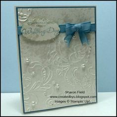 Faux Pearls, pearl accents and a something blue... card for weddings