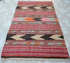 "Antique Turkish Kilim Fragment 47"" x 83"" Hand Woven Wool Rug 120 cm x 210 Cm | eBay"