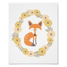 Little Fox Art Print #cute #illustration #drawing #rustic #indie