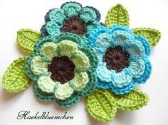 color mix, crochet flowers, craft, blue flowers, color combos