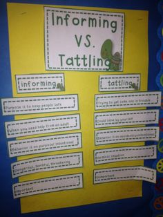 Great blog post on informing versus tattling with a FREEBIE!    A Not So Wimpy Teacher's Behavior Management Manual: As Seen on Pinterest! Informing vs. Tattling