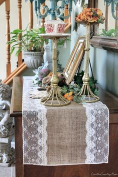 Creative Country Mom's Garden: Lace and Burlap Table Runner