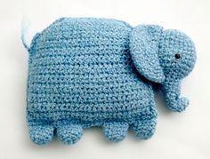 Crochet Amigurumi Elephant Pillow
