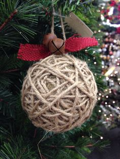 DIY - Jute, burlap, & jingle bell rustic Christmas ornament idea photo.