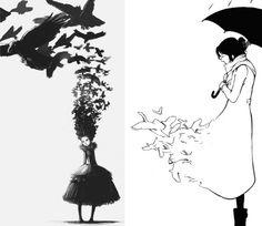 Lovely black and white illustration
