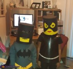 Lego Cat Women and Batman Costumes - 2012 Halloween Costume Contest