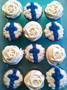 RELIGIOUS CUPCAKES: Buttercream icing (homemade) and Wilton tips; ROSE (tip 2D - go outside, swirl in); CROSS (tip 32, surrounded by tip 21)