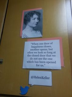 Middle School Classroom Locker Decoration: Inspirational People with Quote Helen Keller (Technology Twitter Theme)