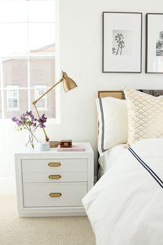 Industrial Task Brass Table Lamp + Nailhead Burlap Upholstered Headboard from west elm