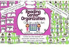 Reading Center Organization Cards - Pink & Green