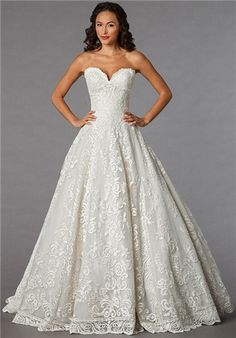 Off White, lace ball gown. Danielle Caprese for Kleinfeld