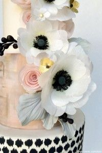 Black, White & Blush   Wafer Paper Anemone Cake   by Hey There, Cupcake!   on TheCakeBlog.com