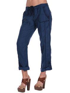 navy, linen cargo pants