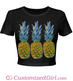 Pineapple Party Neon custom crop top from Customized Girl