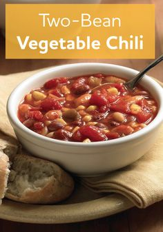 Our Two-Bean Vegetable Chili recipe is a great family comfort food. Sounds good