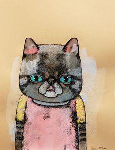 """""""Kitty"""" Krissy McLean Toronto, Ontario, Canada  #cat #catart #cats #kitty #kitties #art #illustration #painting"""