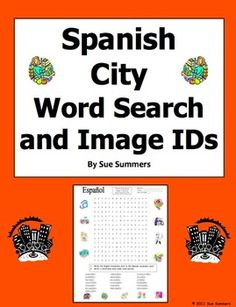 Spanish City Shops Word Search and Vocabulary IDs Worksheet by Sue Summers - 19 words to find and 13 images to identify.
