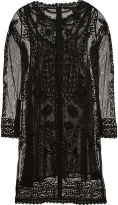 Embroidered Cotton Mesh Dress - Lyst