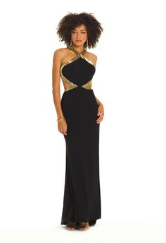 Camille La Vie Black and Gold Bugle Beaded Cutout Prom Dress