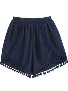 Navy Elastic Waist Twisted Ball Embellished Shorts