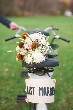 Just Married bicycle, photo by Colagrossi Studios http://ruffledblog.com/winona-lake-elopement #weddingideas #justmarried