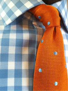Blue stripes and orange polka dots