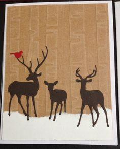 Christmas card using darice birch tree embossing folder, impression obsession deer trio and memory box birds