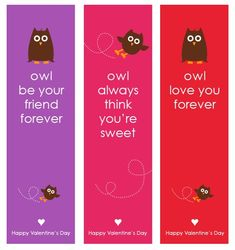 Owl Valentine's Day FREE Bookmark Printables.  For more #Valentine Freebies, click here.