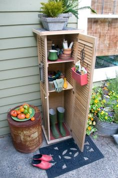 This cabinet is made from up-cycled window shutters. Fun project to keep my gardening tools. You could also use an old CD cabinet.